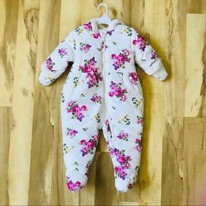 Rothschild Baby Snowsuit 12 Mos White Pink Floral